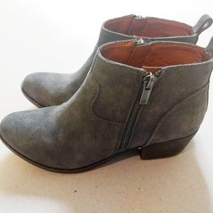 Like New Gray Suede Leather Booties